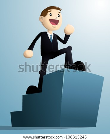 Image of businessman walking up on the uprising stage with empty space for logo/ words. Every objects are in the separated layers and neatly grouped.