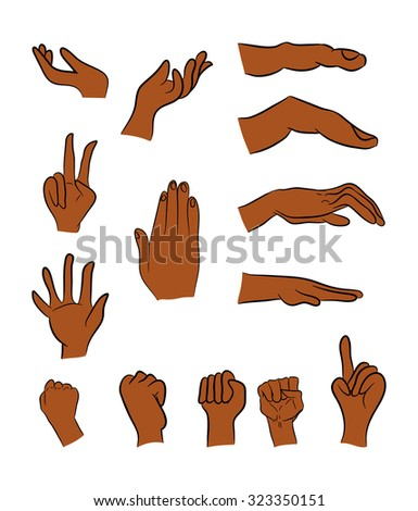 Image of cartoon black man, human hand gesture set. Vector illustration isolated on white background. - stock vector