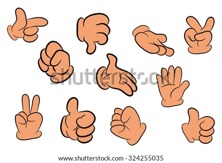 Image of cartoon human gloves hand gesture set. Vector illustration isolated on white background. - stock vector
