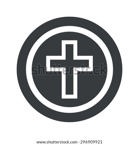 Image of christian cross in circle, on black circle, isolated on white - stock vector