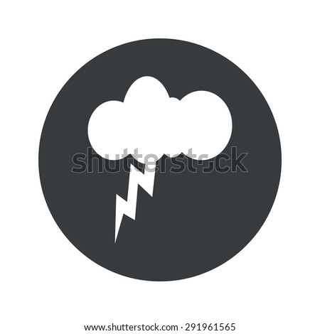 Image of cloud and lightning in black circle, isolated on white - stock vector