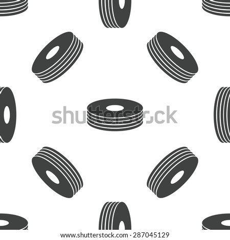 Image of compact disc pile, repeated on white background - stock vector