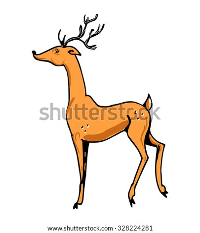Image of deer on a white background. Simple Doodle - stock vector