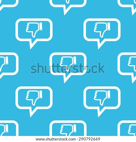 Image of dislike symbol in chat bubble, repeated on blue background - stock vector