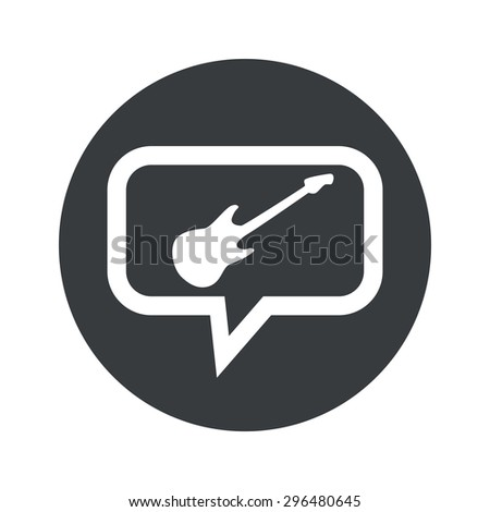 Image of electric guitar in chat bubble, in black circle, isolated on white