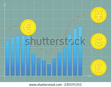 image of euro, pound, dollar, yen in front of recession. Transparency and clipping path used. - stock vector