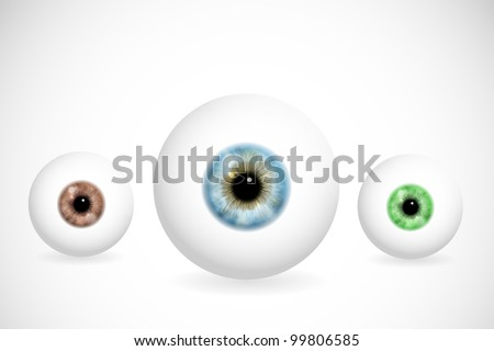 Image of eye ball with various colors of pupils. Eps 10 - stock vector