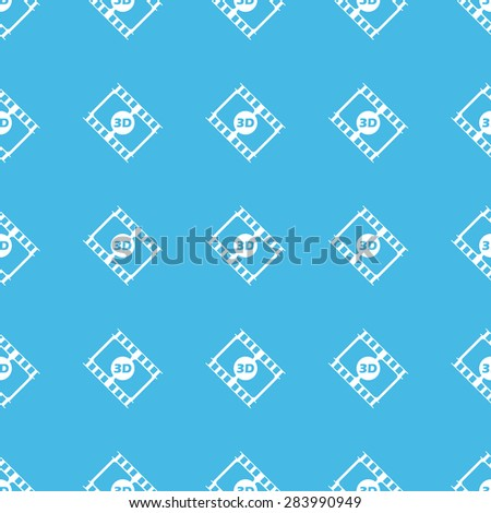 Image of film strip with text 3D, repeated in straight lines on blue background - stock vector