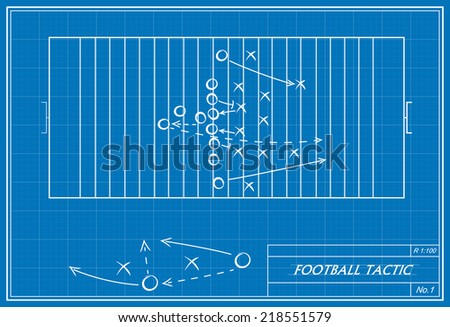 image of football tactic on blueprint. Transparency used.