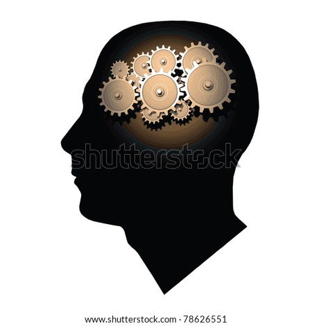 Image of gears inside of a man's head isolated on a white background. - stock vector