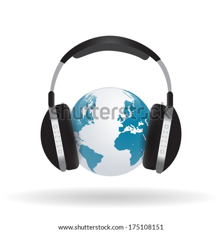 Image of headphones around a globe isolated on a white background. - stock vector