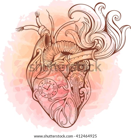 Image of heart in steampunk style. Watercolor background. - stock vector