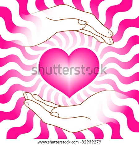 image of heart with hands - stock vector
