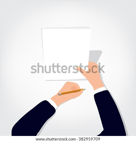 Image of human hands with pencil and eraser on white table blank sheet - stock vector