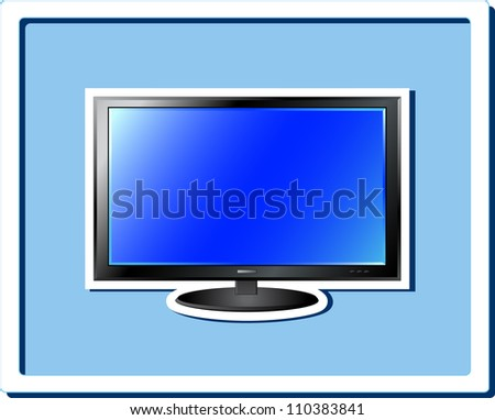 image of isolated blue TV screen sticker in frame - stock vector