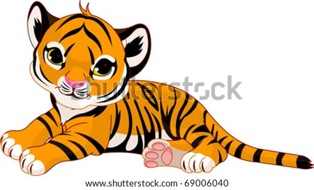 Image of  little tiger cub resting