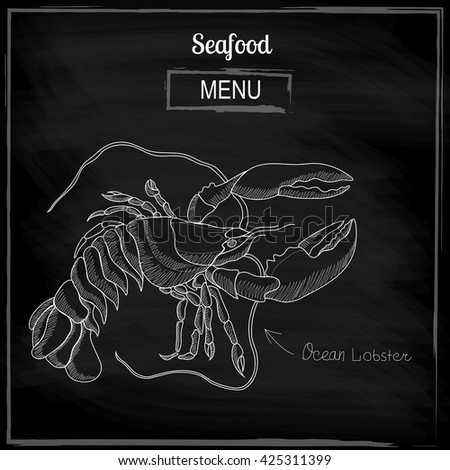 Image of lobster to the menu in restaurants - stock vector