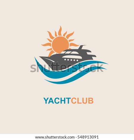 Collection Speedboat Yacht Icons On Waves Stock Vector