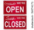 "Image of ""open"" and ""closed"" business signs. - stock photo"