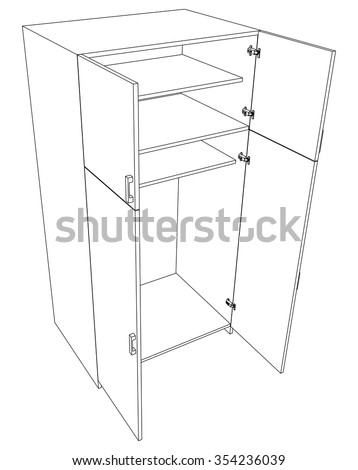 Image of open cabinet on white background, top view - stock vector