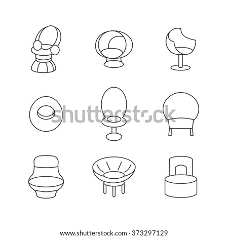 Image of outline armchair, sofa Set. Living room interior design with furniture set illustration. Icon website. Decoration chair. Interior background with furniture in retro style.