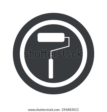 Image of paint roller in circle, on black circle, isolated on white - stock vector