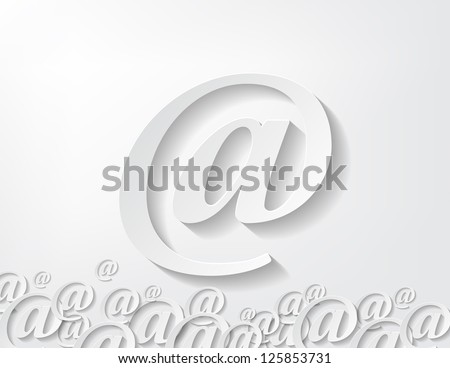 image of paper arroba isolated in white background - stock vector