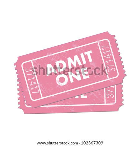 Image of pink Admit One tickets isolated on a white background. - stock vector