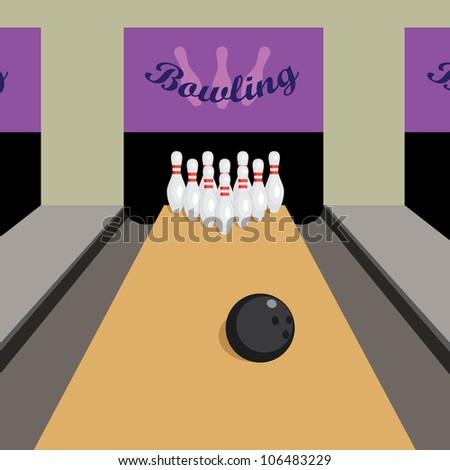 Image of place for play bowling game. - stock vector