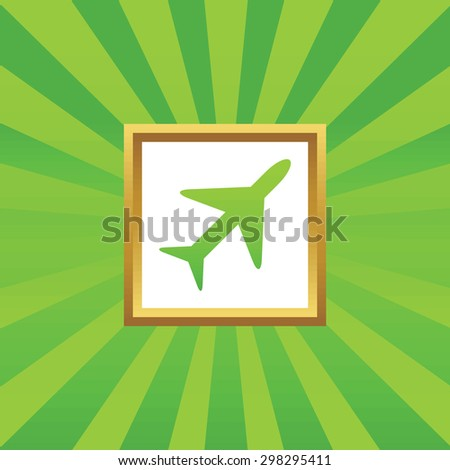 Image of plane in golden frame, on green abstract background - stock vector