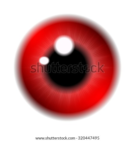 Image of red  pupil of the eye, eye ball, iris eye. Realistic vector illustration isolated on white background.