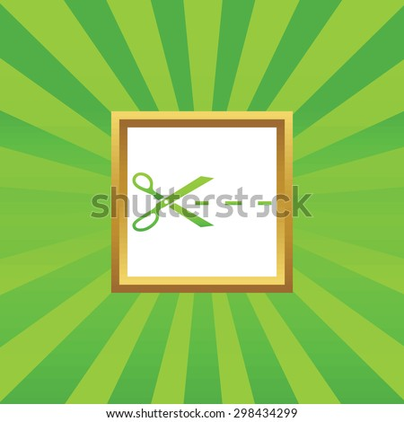 Image of scissors cutting along the line in golden frame, on green abstract background - stock vector
