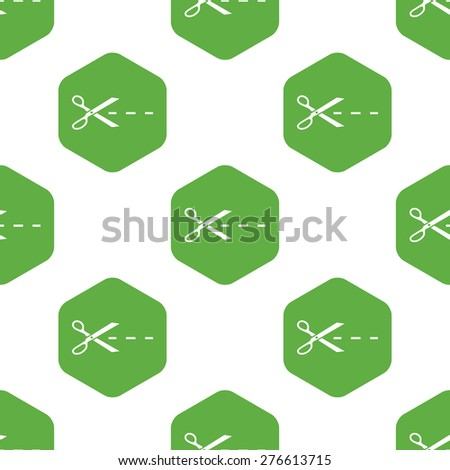 Image of scissors cutting along the line in hexagon, repeated on white background - stock vector