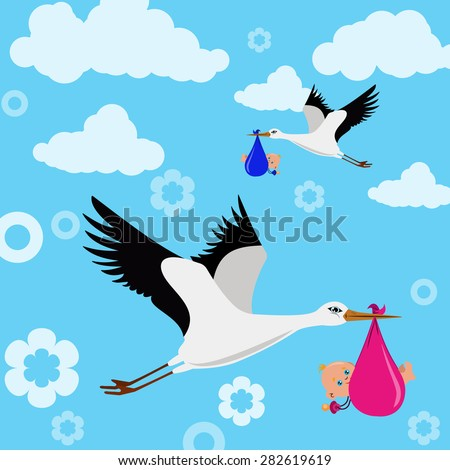 Image of storks that are flying in the sky with children - stock vector