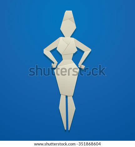 Image Of Strong Paper Business Woman In Costume Made Origami Style Blue Background