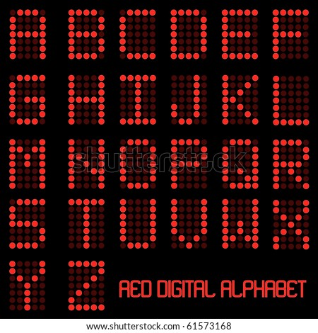 Image of the alphabet in a red digital font.