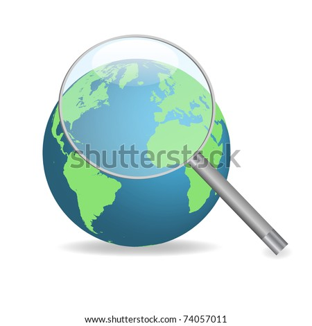 Image of the earth with a magnifying glass isolated on a white background. - stock vector