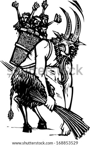 Image of the European Christmas Krampus figure with a basket full of children - stock vector