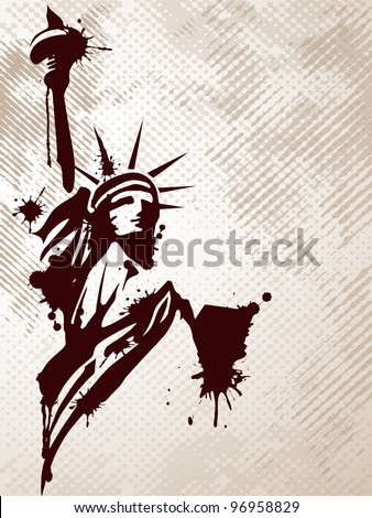 Image of the Statue of Liberty on grungy background for 4th July American day and other events. Vector illustration. - stock vector