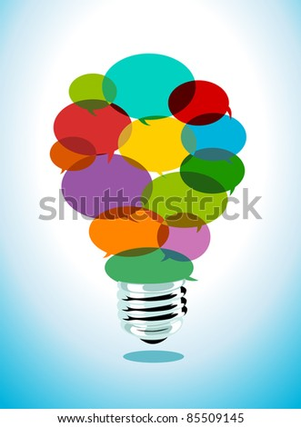 Image of transparent speech bubbles shaping a light bulb - stock vector