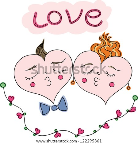 image of two happy and hearts in love. vector illustration. - stock vector