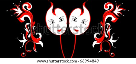 Image of two masks for a masquerade on a black. - stock vector