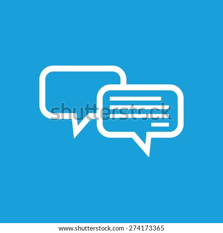 Image of two message clouds on blue background - stock vector