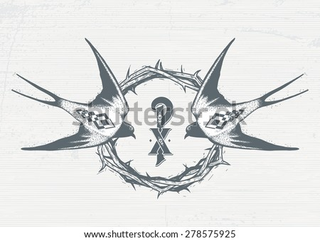 Image of two swallows on a background of a wreath of Jesus Christ in tattoo style. Sketch, handmade. - stock vector
