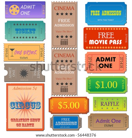 Image of various admission and cinema tickets. - stock vector