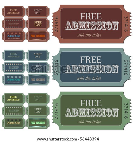 Image of various admission tickets.