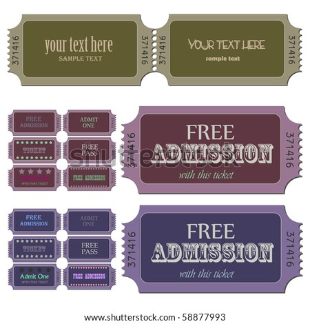 Image of various admission tickets with editable text. - stock vector