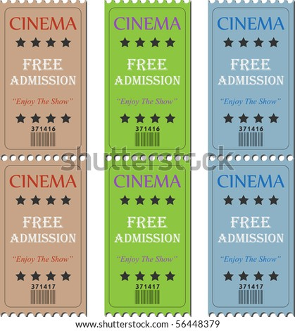 Image of various cinema tickets. - stock vector