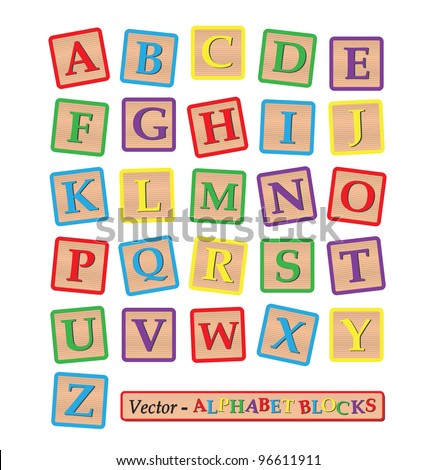 Image of various colorful blocks with the alphabet isolated on a white background. - stock vector