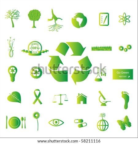 Image of various eco-friendly green icons isolated on a white background. - stock vector